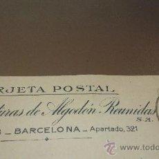 Postales: ANTIGUA TARJETA POSTAL MANUFACTURAS DE ALGODON REUNIDAS BARCELONA 1923. Lote 38598765