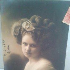 Postales: MAGNIFCA POSTAL DE CHICA EN BLANCO Y NEGRO FECHADA EL 13-6-1910 EN BARCELONA. Lote 39356677