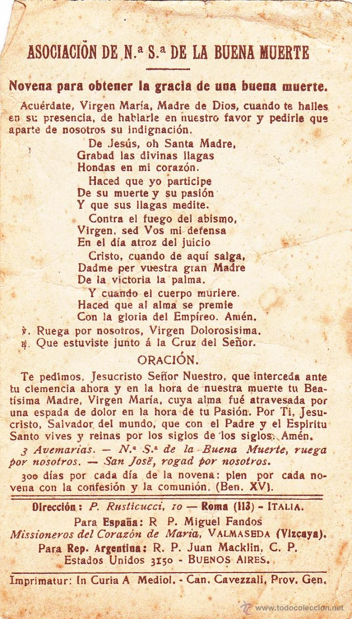 Postales: Estampa / Estampita Nuestra Señora de la Buena Muerte - Julio 1908 - Foto 2 - 39764736