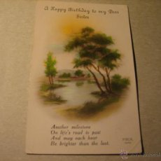 Postales: POSTAL ANTIGUA: PAISAJE. REX 1640. A HAPPY BIRTHDAY TO MY DEAR SISTER . Lote 40307720