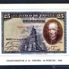Postales: COLECTARJETAS A 12 - ESPAÑA - 25 PESETAS - 1928. NUEVA.. Lote 41471289