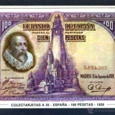 Postales: COLECTARJETAS A 25 - ESPAÑA - 100 PESETAS - 1928. NUEVA.. Lote 41471483