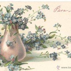 Postales: FLORES-2. POSTAL ALEMANA RELIEVE, COLOR. IMPRESA C. 1910. NOMBRE DESTINATARIA EN EL ANVERSO Y REVERS. Lote 41629851