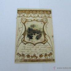 Postales: POSTAL MODERNISTA - ESCRITA 1904 - CON SELLO - CIRCULADA - RELIEVE CON DORADOS Y SEDA . Lote 43493581
