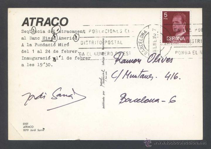 Postales: Autógrafo sobre postal Expo *Jordi Sarrà - Atraco 1979* Circulada. - Foto 2 - 43936149
