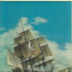 Postales: 2 POSTALES EN TRES DIMENSIONES DE - UN GALEON Y MARIPOSAS SIN CIRCULAR. Lote 44560959