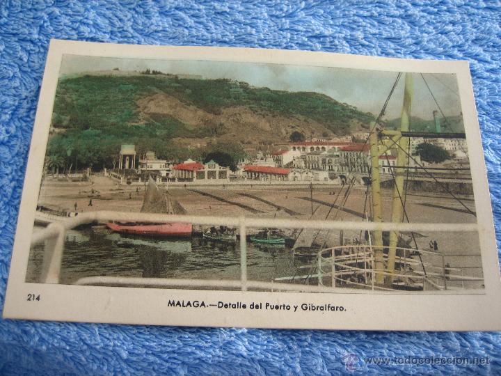 POSTAL ANTIGUA- MALAGA.DETALLE DEL PUERTO Y GIBRALFARO. ARRIBAS. NUM. 214 (Postales - Varios)