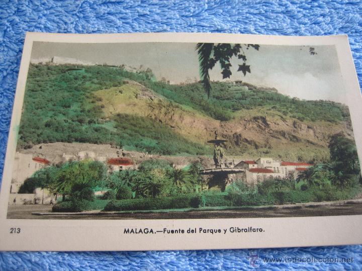 POSTAL ANTIGUA- MALAGA.FUENTE DEL PARQUE Y GIBRALFARO. ARRIBAS. NUM. 213 (Postales - Varios)