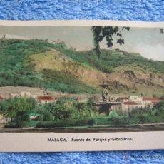 Cartes Postales: POSTAL ANTIGUA- MALAGA.FUENTE DEL PARQUE Y GIBRALFARO. ARRIBAS. NUM. 213. Lote 44789757