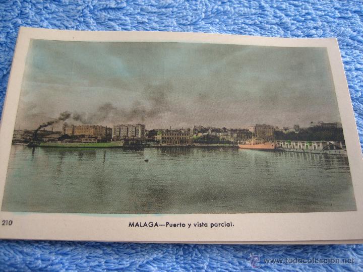 POSTAL ANTIGUA- MALAGA.PUERTO Y VISTA PARCIAL. ARRIBAS. NUM. 210 (Postales - Varios)