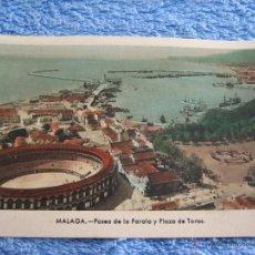 Cartes Postales: POSTAL ANTIGUA- MALAGA. PASEO DE LA FAROLA Y PLAZA DE TOROS. ARRIBAS. NUM. 63. Lote 44790704