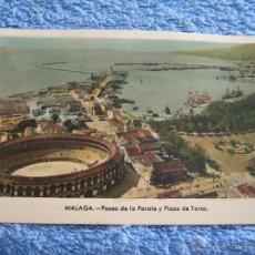 Cartes Postales: POSTAL ANTIGUA- MALAGA. PASEO DE LA FAROLA Y PLAZA DE TOROS. ARRIBAS. NUM. 63. Lote 44790726