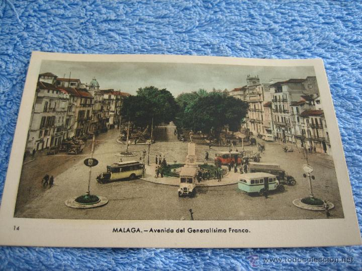 POSTAL ANTIGUA- MALAGA. AVENIDA DEL GENERALISIMO FRANCO. ARRIBAS. NUM. 14 (Postales - Varios)