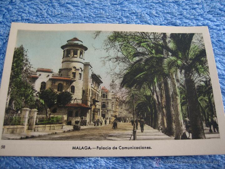 POSTAL ANTIGUA- MALAGA. PALACIO DE COMUNICACIONES. ARRIBAS. NUM. 58 (Postales - Varios)
