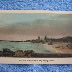 Cartes Postales: POSTAL ANTIGUA- MALAGA. PLAYA DE LA MAGALETA Y FAROLA. ARRIBAS. NUM. 205. Lote 44798381