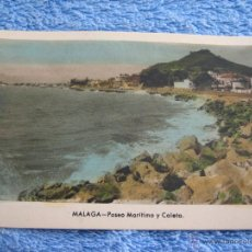 Cartes Postales: POSTAL ANTIGUA- MALAGA. PASEO MARITIMO Y CALETA. ARRIBAS. NUM. 206. Lote 44798494