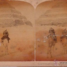 Postales: POSTAL STEREOSCOPIC. NUBIEN SOLDIERS AND THE STEP PRYAMID. EGYPT. UNDERWOOD.. Lote 44996326