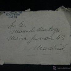 Postales: SOBRE TAURINA CORRIDA PLAZA TOROS TORERO MANUEL MONTOYA MADRID 14X9. Lote 45152597