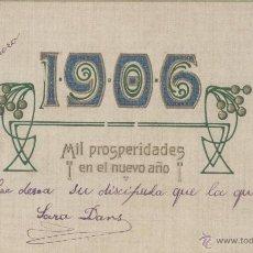 Postales: FELICIDADES 1906. POSTAL RELIEVE, POSIBLEMENTE ALEMANA. MUY ESTÉTICA. . Lote 45208724