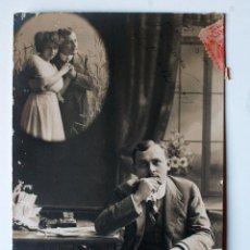 Postales: POSTAL CIRCULADA 1911, PENSANDO EN SU NOVIA. MALLORCA. Lote 45266149