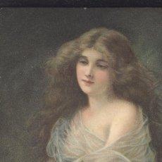 Postales: BELLEZA SERENA. POSTAL COLOR CIRCULADA, C. 1915. INCLUYE PUBLICIDAD AL REVERSO.. Lote 45271111