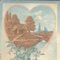 Postales: AMOR Y POESIA. POSTAL COLOR, CON CORAZON, EN CUYO INTERIOR HAY UN PAISAJE EN RELIEVE. C. 1905.. Lote 45287116
