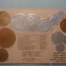 Postales: POSTAL ALEMANA SIN CIRCULAR 1900 CON MONEDAS TROQUELADAS DE EMPIRE OF BRITISH INDIA AND CEYLON. Lote 45550319