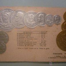 Postales: POSTAL ALEMANA SIN CIRCULAR 1905 CON MONEDAS TROQUELADAS DE VENEZUELA. EN ORO Y PLATA. Lote 45550341