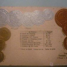 Postales: POSTAL ALEMANA SIN CIRCULAR 1905 CON MONEDAS TROQUELADAS DE TÚNEZ. EN ORO, PLATA Y COBRE. Lote 45550354