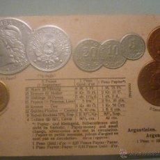 Postales: POSTAL ALEMANA SIN CIRCULAR 1900 CON MONEDAS TROQUELADAS DE ARGENTINA. EN ORO, PLATA Y COBRE. Lote 45550368