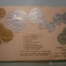 Postales: POSTAL ALEMANA SIN CIRCULAR 1900 CON MONEDAS TROQUELADAS PERSIA. EN ORO, PLATA. . Lote 45550386