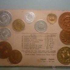 Postales: POSTAL ALEMANA SIN CIRCULAR 1900 CON MONEDAS TROQUELADAS DE JAPÓN, EN ORO, PLATA Y COBRE. . Lote 45550398