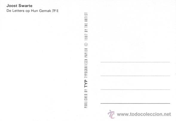 Postales: Joost Swarte. Postal para una revista de tipografía. Amsterdam, 1987 - Foto 2 - 235715480