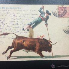 Postales: POSTAL SALTO DE LA GARROCHA, TOROS TAUROMAQUIA - CIRCULADA 1904.. Lote 47550108