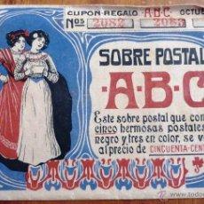 Postales: SOBRE PARA POSTALES ABC POSTAL 1909 . CONTENÍA POSTALES Y REGALOS DE DECIMOS DE LOTERÍA MODERNISTA. Lote 48289101