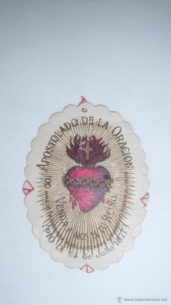 CURIOSO ESCAPULARIO DEL APOSTOLADO DE LA ORACIÓN. PÍO IX. 14 JULIO 1877 (Postales - Varios)
