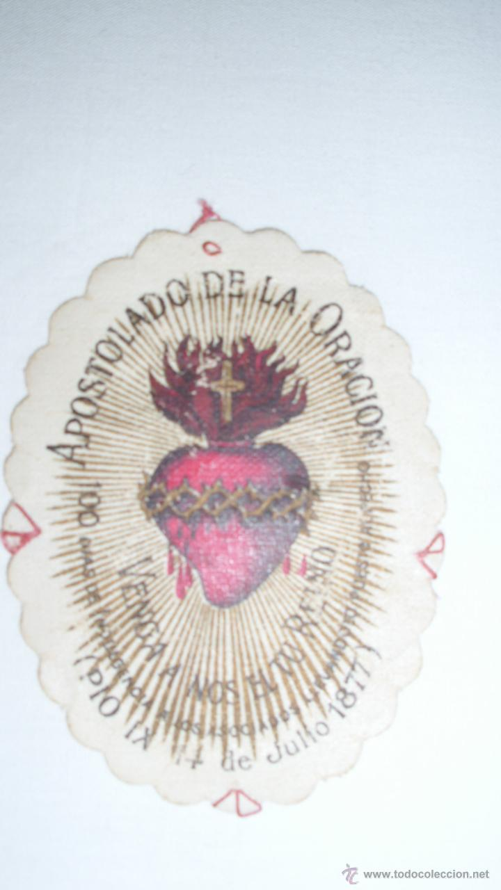 Postales: Curioso escapulario del Apostolado de la Oración. Pío IX. 14 Julio 1877 - Foto 2 - 49038356