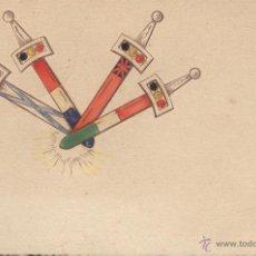 Postales: ITALIA. POSTAL CUATRO PUÑALES. IMPRESA A COLOR Y EN RELIEVE. CIRCULADA EN 1911. VER IMAGEN. Lote 49487602