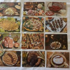 Postales: LOTE 12 POSTALES IBERIA PLATOS REGIONALES ESPAÑA. Lote 49489900
