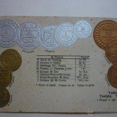 Postales: MONEDAS NACIONALES DE TÚNEZ. SIN CIRCULAR.. Lote 49594752