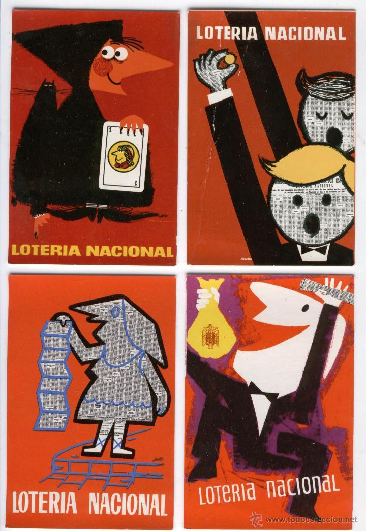 12 POSTALES LOTERIA NACIONAL 1958,60 Y 62 (Postales - Varios)