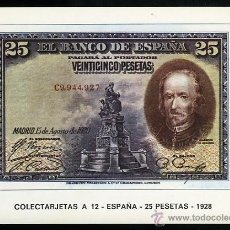 Postales: BILLETE DE 25 PESETAS ESPAÑA 1928. TARJETA COLOR EUROHOBBY.. Lote 51342643