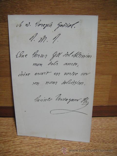 POSTAL CON NOTA DE JACINTO VERDAGUER A UN AMIGO (Postales - Varios)