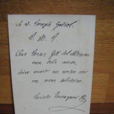 Postales: POSTAL CON NOTA DE JACINTO VERDAGUER A UN AMIGO. Lote 54674956