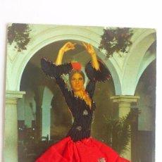 Postales: POSTAL TRAJE DE FLAMENCA BORDADO Y FALDA DE TELA, AÑO 1980, CIRCULADA. Lote 55887401