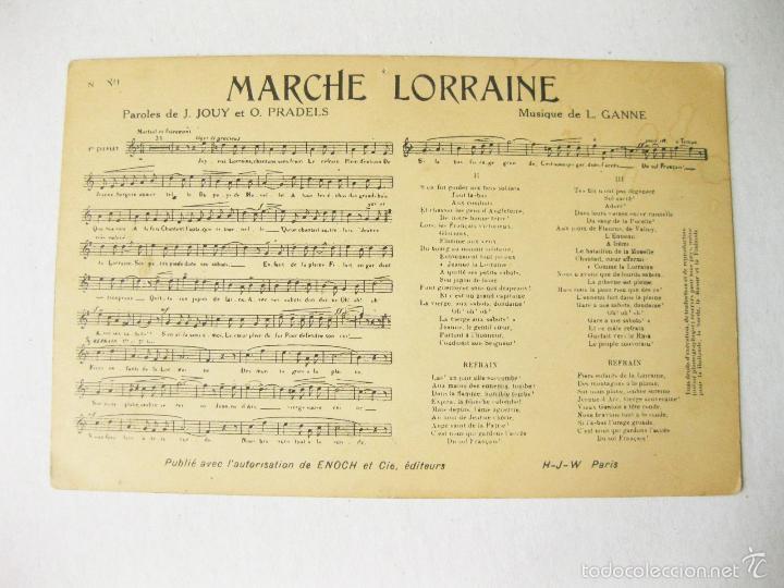 POSTAL CON PARTITURA MUSICAL DE LA MARCHA LORRAINE. L. GANNE (Postales - Varios)