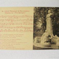 Postales: POSTAL CON PARTITURA MUSICAL. LILLE MONUMENT DE DESROUSSEAUX CHANSON DU P'TIT QUINQUIN. Lote 56837130