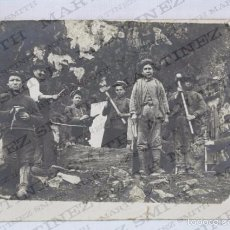 Postales: ANTIGUA POSTAL FOTOGRÁFICA ANIMADA - GRUPO DE MINEROS Y NIÑOS - SIN CIRCULAR - MEDIDAS 14 X 9 CM. Lote 57100000