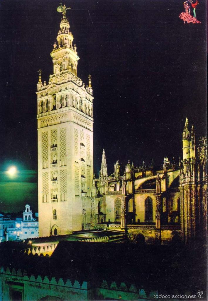 sevilla vista nocturna la giralda postal no circulada postales espaa andalucia moderna