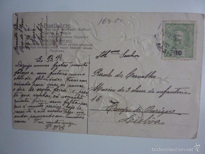 Postales: Tarjeta postal modernista en relieve. Circulada. Sello Portugal C. 1910 - Foto 3 - 57482899